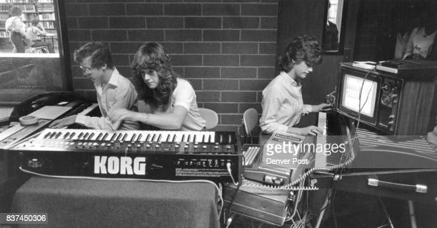 5/9/1984 MAY 16 1984 'Synthesizer' Playing the Key Boards are L to R Alan Stepp Michelle Bills Cheryl Pollak Credit The Denver Post