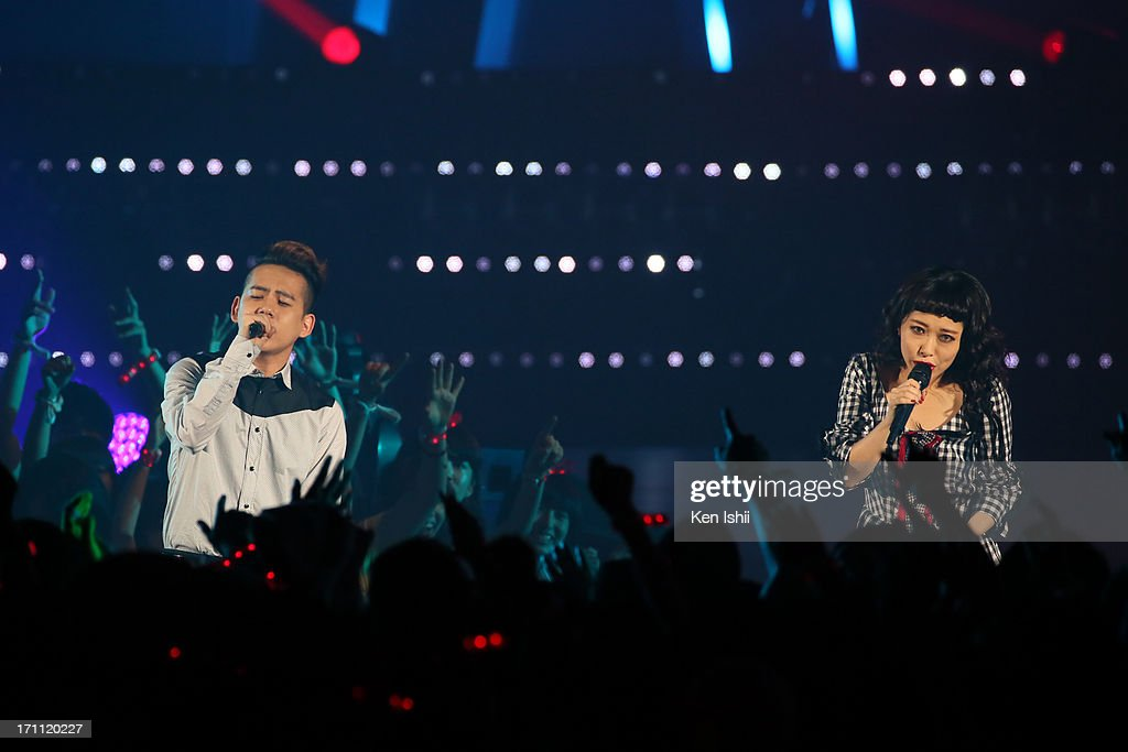 Syota Shimizu (L) and Miliyah Kato perfom onstage during the MTV VMAJ 2013 at Makuhari Messe on June 22, 2013 in Chiba, Japan.