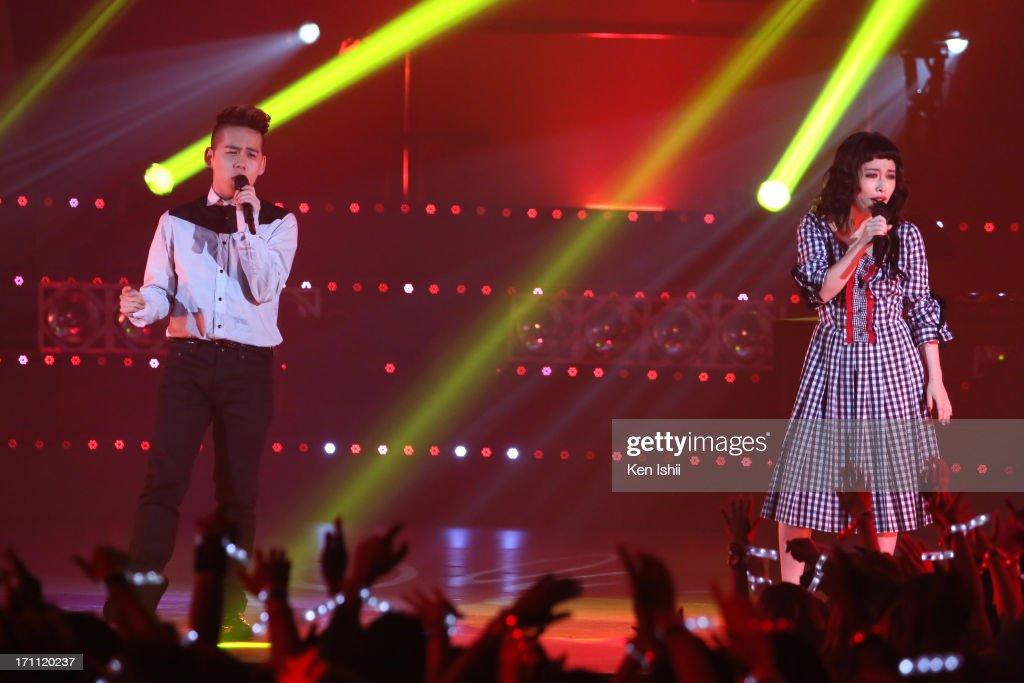 Syota Shimizu (L) and Miliyah Kato perfom onstage during the MTV VMAJ 2013 at Makuhari Messe on June 22, 2013 in Chiba, Japan.