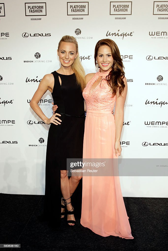 Syra Feiser and Angelina Heger attend the Unique show during Platform Fashion July 2016 at Areal Boehler on July 23, 2016 in Duesseldorf, Germany.