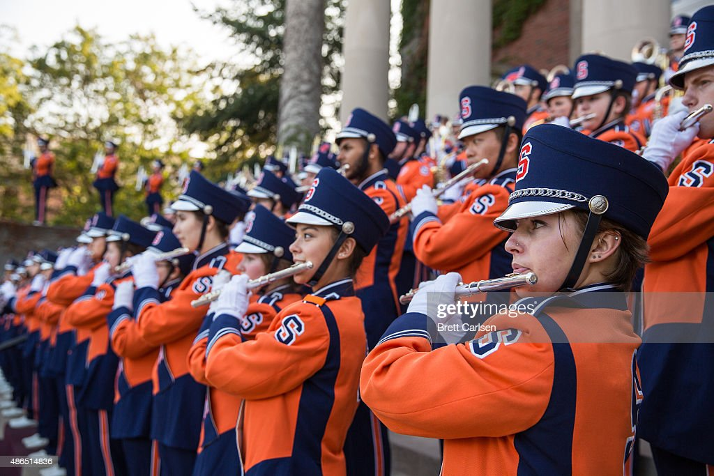Syracuse Orange band members perform before the game between the Syracuse Orange and the Rhode Island Rams on September 4 2015 at The Carrier Dome in...