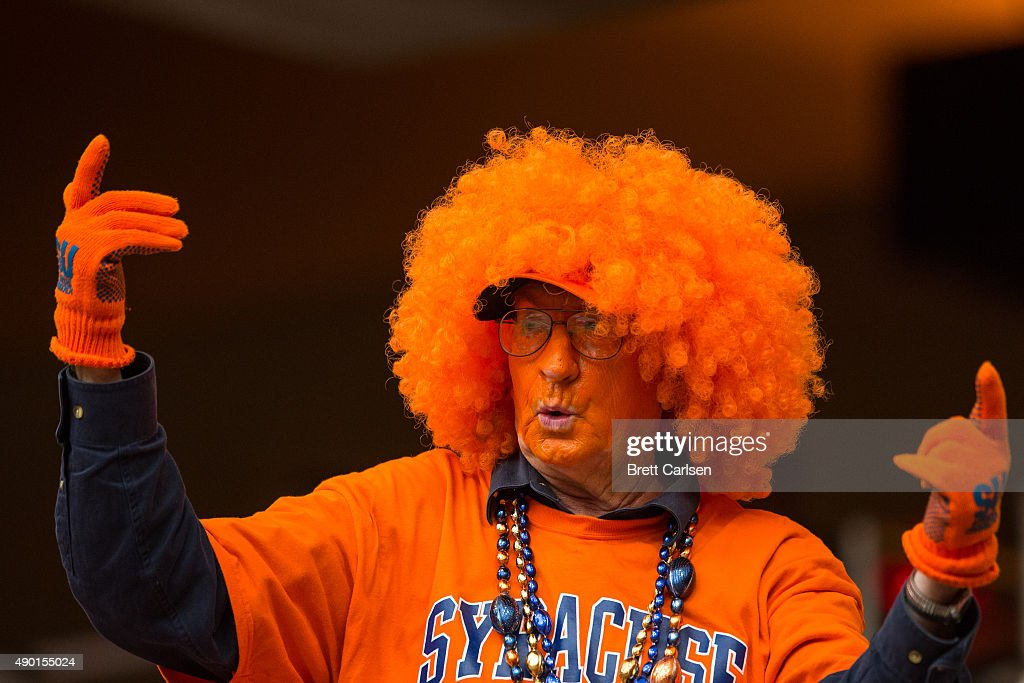 Syracuse Orange fan reacts to a play during the second half against the LSU Tigers on September 26 2015 at The Carrier Dome in Syracuse New York LSU...