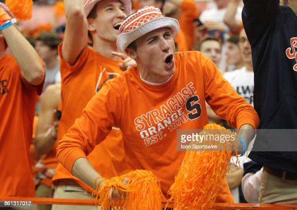 Syracuse Orange fans cheer during a college football game between Clemson Tigers and Syracuse Orange on October 13 2017 at the Carrier Dome in...