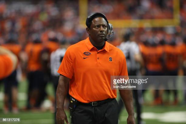 Syracuse Orange head coach Dino Babers looks on during a college football game between Clemson Tigers and Syracuse Orange on October 13 2017 at the...