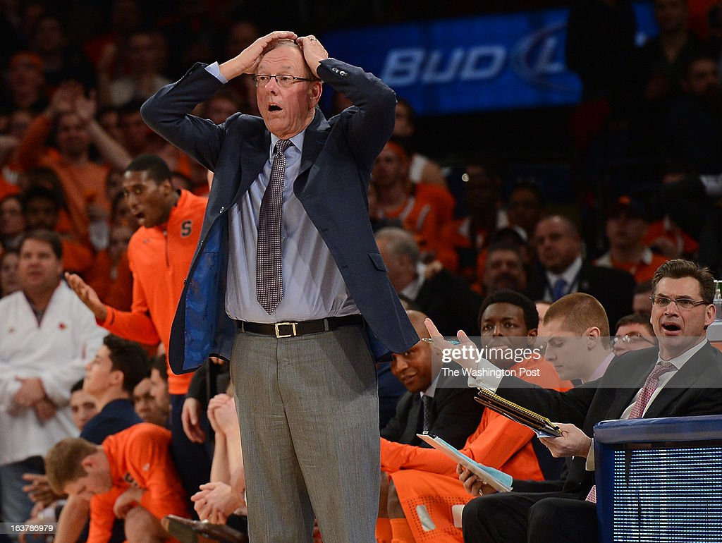 Syracuse Orange head coach Jim Boeheim reacts after on e of his players is called for a foul with just over forty seconds remaining in overtime of the Semifinal Round game of the Big East Championship at Madison Square Garden on Friday, March 15, 2013. The Georgetown Hoyas lost to the Syracuse Orange 58-55 in overtime.