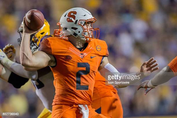 Syracuse Orange quarterback Eric Dungey passes against LSU Tigers during a college football game between the LSU Tigers and the Syracuse Orange on...