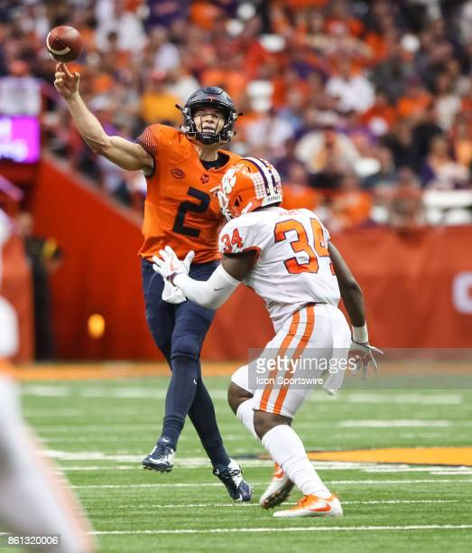Syracuse Orange quarterback Eric Dungey throws the ball down field during a college football game between Clemson Tigers and Syracuse Orange on...