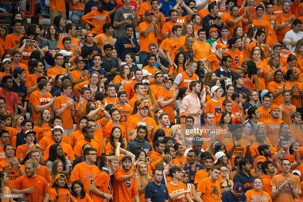 Syracuse Orange student section cheers on their team against the Wake Forest Demon Deacons on September 12 2015 at The Carrier Dome in Syracuse New...