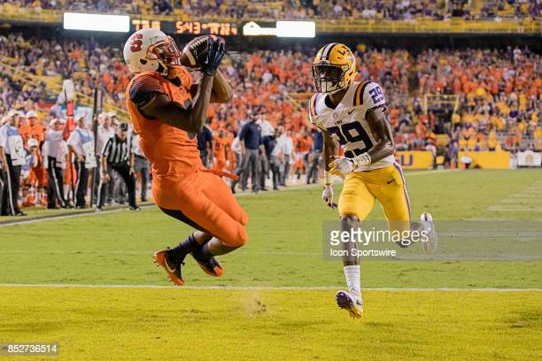 Syracuse Orange wide receiver Steve Ishmael catches a 22 yard touchdown pass against LSU Tigers cornerback Andraez Williams during a college football...