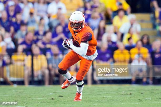Syracuse Orangeman wide receiver catches a pass during a college football game between Syracuse Orangemen v LSU Tigers on September 23 2017 at Tiger...