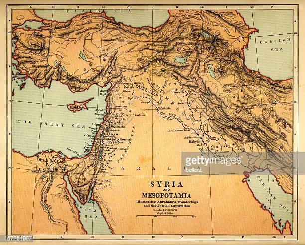 syria and mesopotamia retro map