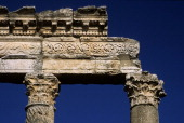 Syria Apamea Cardo Maximus Detail Particular Corinthian marble columns with spiral grooves Visible part of the entablature frieze decorated with...