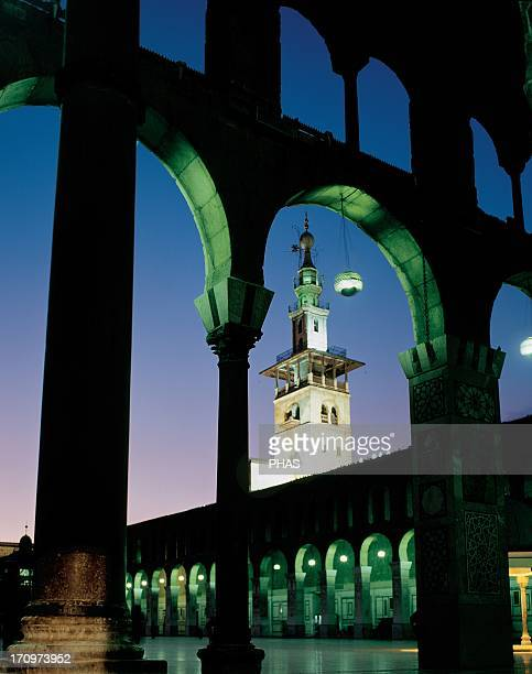 Syria Damascus Umayyad Mosque or Great Mosque of Damascus Built in the early 8th century Courtyard Night view