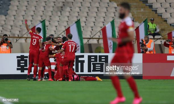 Syria Players celebrate during FIFA 2018 World Cup Qualifier match between Iran v Syria on September 5 2017 in Tehran Iran
