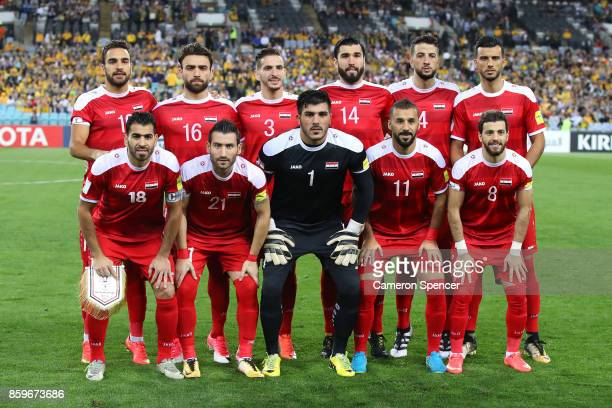 Syria players pose for a team shot during the 2018 FIFA World Cup Asian Playoff match between the Australian Socceroos and Syria at ANZ Stadium on...