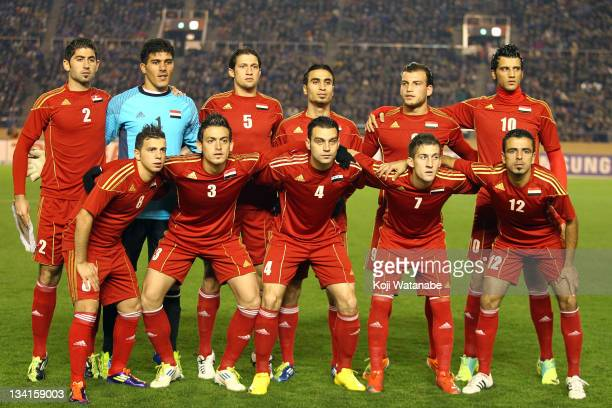 Syria team pose before the start of the 2012 London Olympic Men's soccer Asian third qualifier match between Japan U22 and Syria U22 at the National...