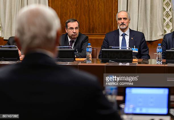 Syrian ambassador to UN and head of the government delegation Bashar alJaafari faces Syria UN envoy Staffan de Mistura at the opening of Syrian peace...
