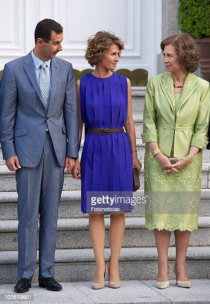 Syrian Arab Republic President Bashar alAssad his wife Asma alAssad and Queen Sofia of Spain pose for photographers at Zarzuela Palace on July 4 2010...
