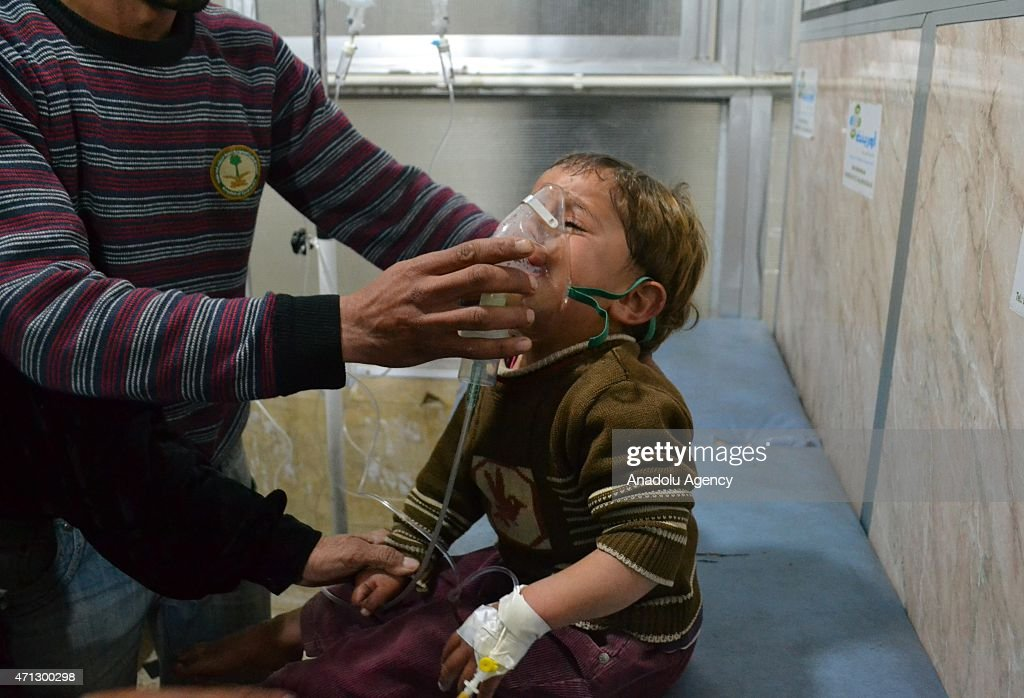 Syrian boy receives treatment at a local hospital following a suspected chlorine gas attack by Asad regime forces in Jebel ez Zawiye Idlib Syria on...