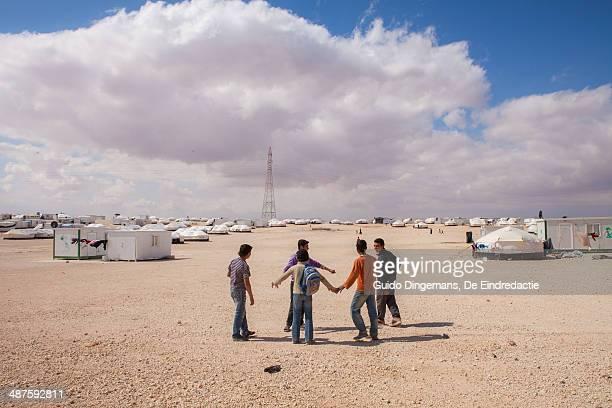 Syrian boys at Zaatari refugee camp in Jordan