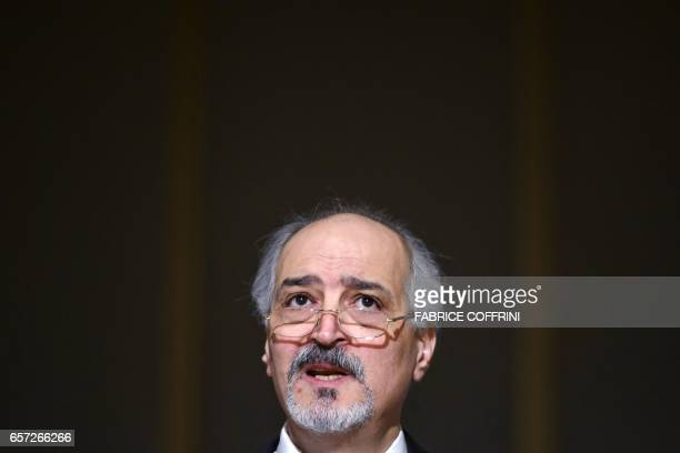 Syrian chief negotiator and Ambassador of the Permanent Representative Mission of the Syria to UN New York Bashar alJaafari gives a press conference...