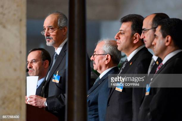Syrian chief negotiator and Ambassador of the Permanent Representative Mission of the Syria to UN New York Bashar alJaafari attends a press...