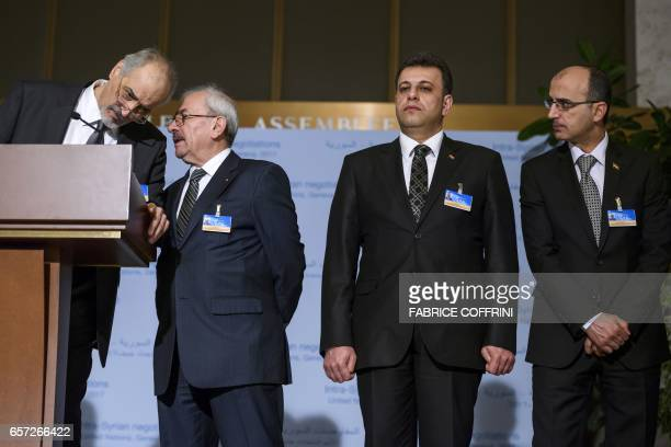 Syrian chief negotiator and Ambassador of the Permanent Representative Mission of the Syria to UN New York Bashar alJaafari listens to Syria's...