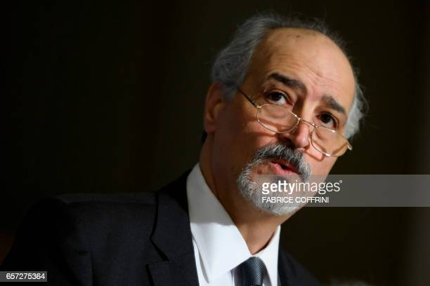 Syrian chief negotiator and Ambassador of the Permanent Representative Mission of Syria to the United Nations Bashar alJaafari attends a press...