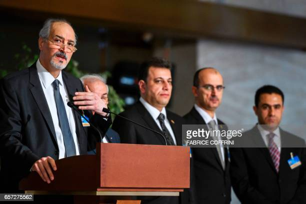 Syrian chief negotiator and Ambassador of the Permanent Representative Mission of Syria to the United Nations Bashar alJaafari and members of the...