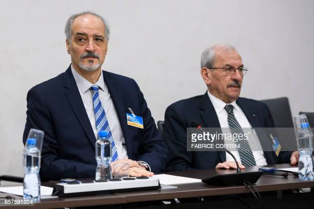 Syrian chief negotiator and Ambassador of the Permanent Representative Mission of Syria to the United Nations Bashar alJaafari and Syria's assistant...