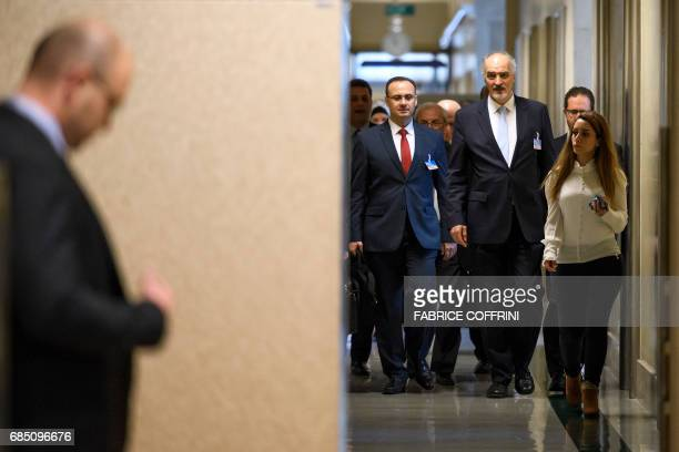Syrian chief negotiator and Ambassador of the Permanent Representative Mission of Syria to the United Nations Bashar alJaafari arrives with his...