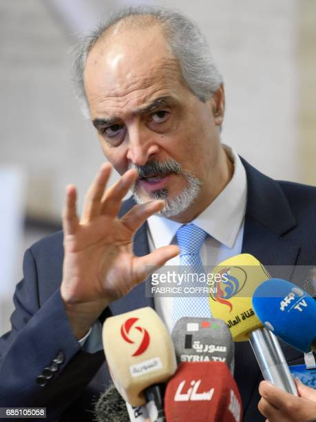 Syrian chief negotiator and Ambassador of the Permanent Representative Mission of Syria to the United Nations Bashar alJaafari gestures during press...