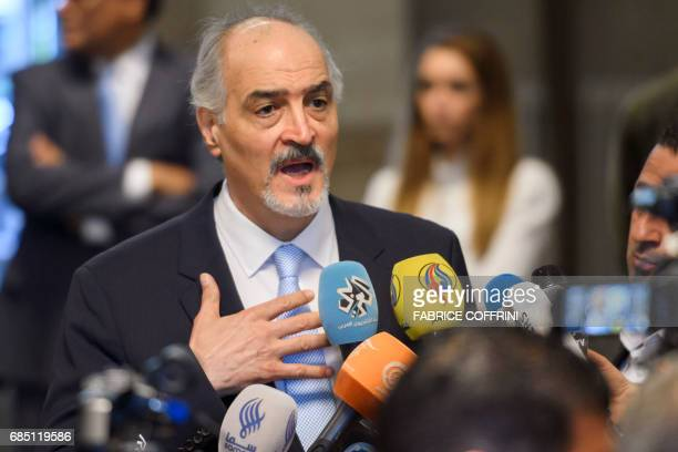 Syrian chief negotiator and Ambassador of the Permanent Representative Mission of Syria to the United Nations Bashar alJaafari gestures during a...