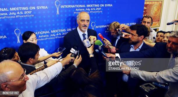 Syrian chief negotiator and Ambassador of the Permanent Representative Mission of Syria to the United Nations Bashar alJaafari speaks to the press...
