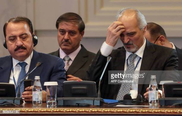 Syrian chief negotiator and Ambassador of the Permanent Representative Mission of Syria to the United Nations Bashar alJaafari along with other...