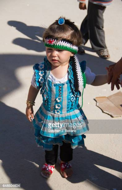 A'ZAZ ALEPPO SYRIA A Syrian child wears Free Syrian Army colors at the border with Turkey in A'zaz Syria