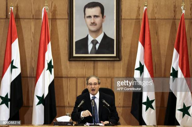 Syrian Deputy Foreign and Expatriates Minister Faisal Mikdad speaks at a press conference in the capital Damascus on July 3 2017 / AFP PHOTO / LOUAI...
