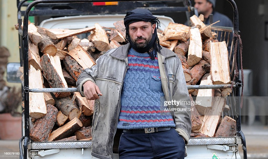 Syrian driver stands next to his pick-up truck loaded with chopped wood in the northern town of Darkush on January 23, 2013. Beset by a freezing winter and stifling fuel and electricity shortages, Syrian civilians desperate to stay warm in a northern forest have no choice but to cut down trees for firewood. Once a tourist destination for Syrians and other Arabs across the Middle East, the formerly pristine national park to the north and west of the city of Idlib is being systematically stripped bare. AFP PHOTO/AAMIR QURESHI