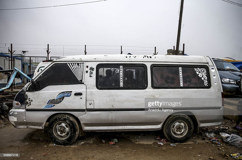 Syrian families, who fled bombing in Aleppo, stay inside their vehicles at a tent city close to the Bab al-Salam border crossing on Turkish-Syrian border near Azaz town of Aleppo, Syria on February 13, 2016. Russian airstrikes have recently forced some 40,000 people to flee their homes in Syrias northern city of Aleppo.