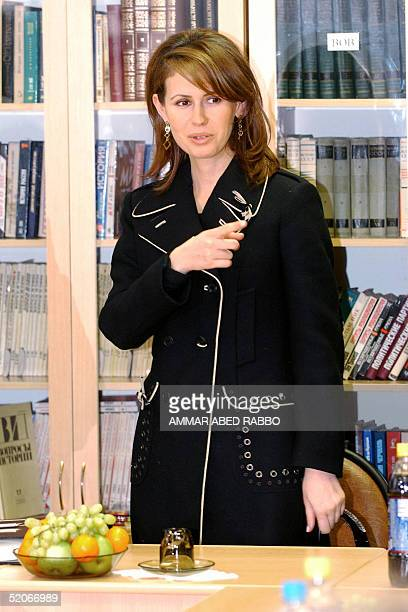 Syrian First Lady Asma alAssad gestures at the end of her visit to the 'Advanced State University' in Moscow 26 January 2005 on the third day of her...