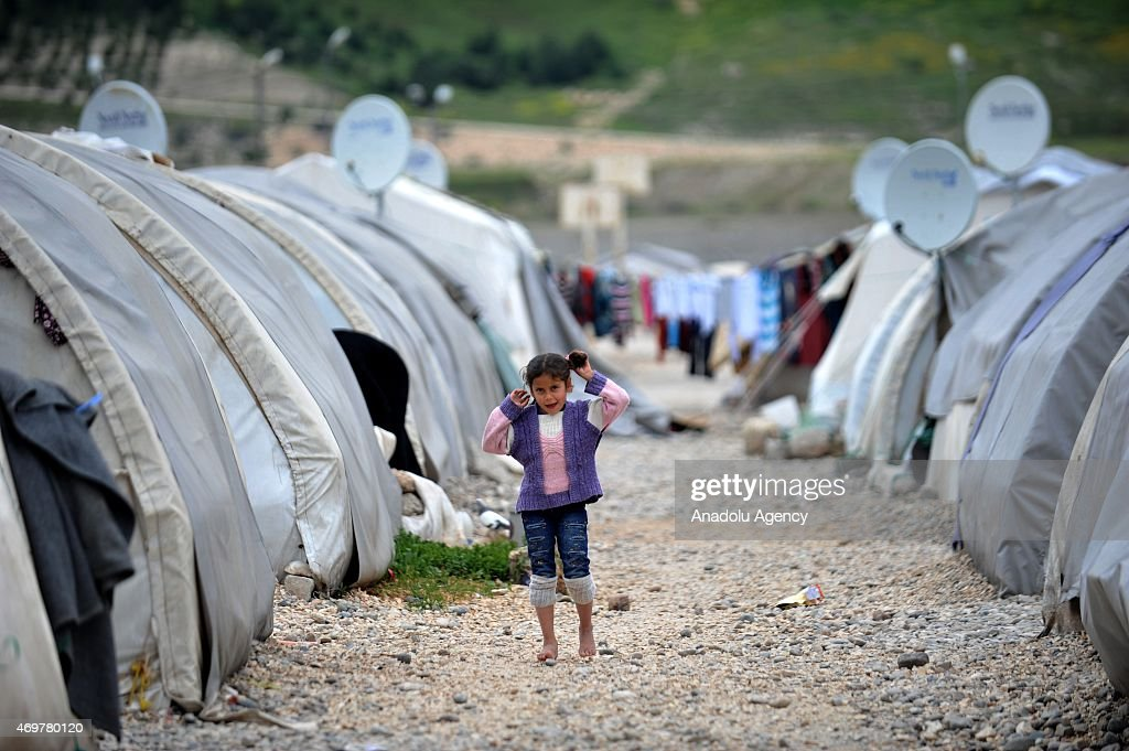 Syrian kid fled from the civil war living in a refugee camp is seen in Nizlip district of Gaziantep Turkey on April 15 2015