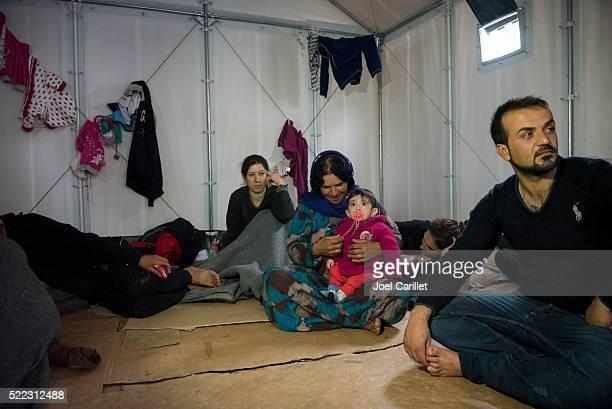 Syrian Kurdish family at refugee camp on Lesbos, Greece