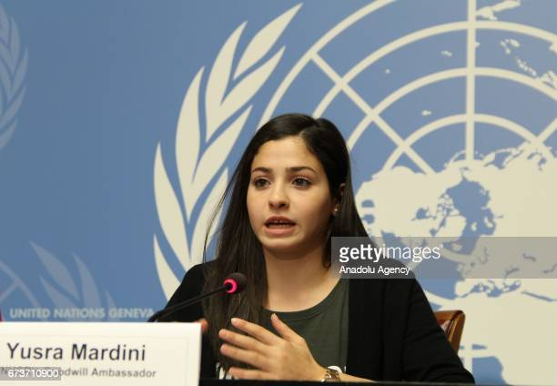 Syrian Olympic swimmer Yusra Mardini who swam to Greece from Turkey holds a press conference after being UNHCR Goodwill Ambassador at the United...