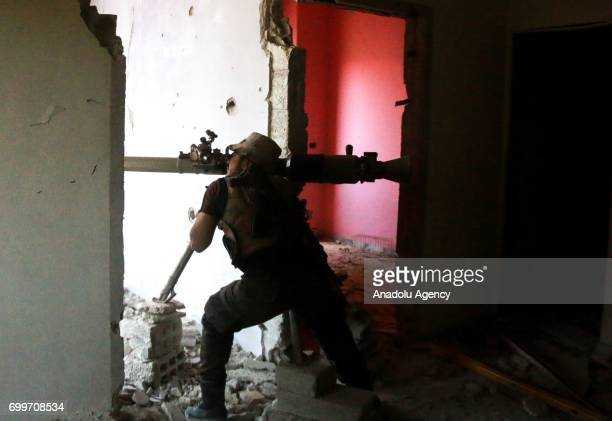 Syrian opponents attack Assad Regime's positions in Jobar district of Damascus Syria on June 22 2017