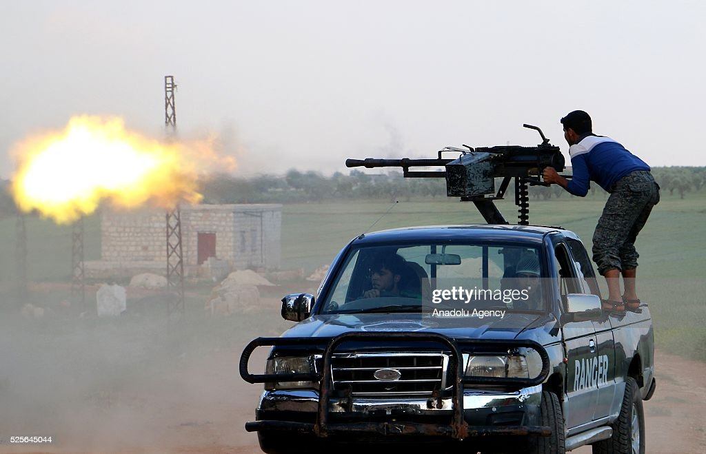 Syrian opponents attack Daesh positions at the Jari village in Aleppo, Syria on April 28, 2016.