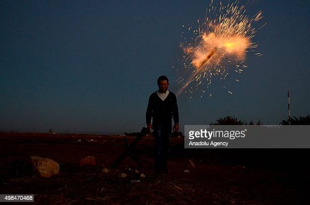 Syrian opponents attack Daesh terrorist organization's positions with the howitzers in the Herbel village of the Mari district in Aleppo Syria on...