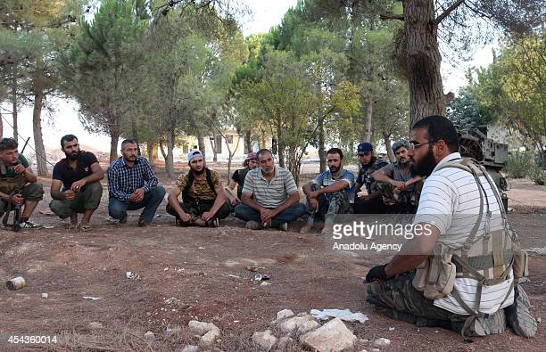 Syrian opposition brigades and members of Islamic Front are seen before the assault on industrial zone and prison that controlled by Assad regime...