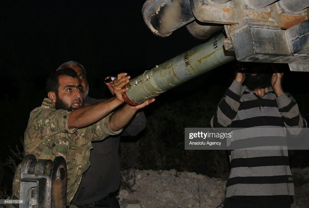 Syrian opposition forces prepare to attack Asad forces with Grad rockets located at Turkmen Mountains in Latakia, Syria on June 28, 2016.