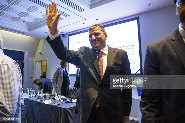 Syrian opposition High Negotiations Committee's General Coordinator Riyad Hijab arrives before he launches the executive framework for a political...