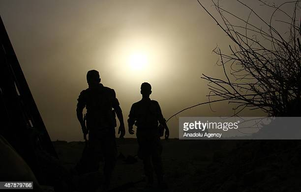 Syrian opposition members fight against Assad Regime Forces in Tall Kurdi village Damascus Syria on September 12 2015